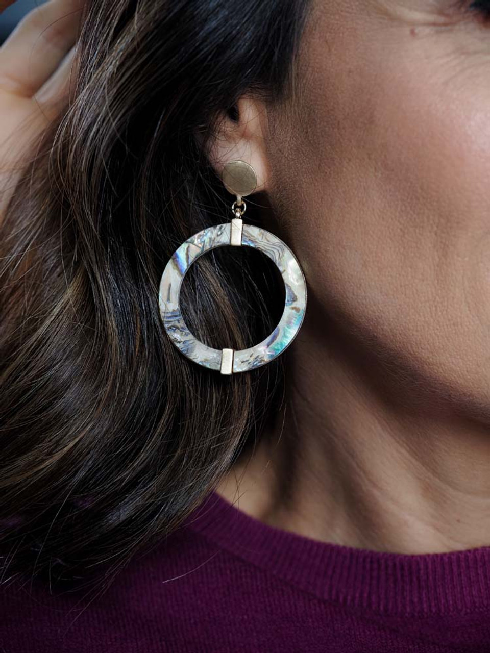 large circle post earring with multi color