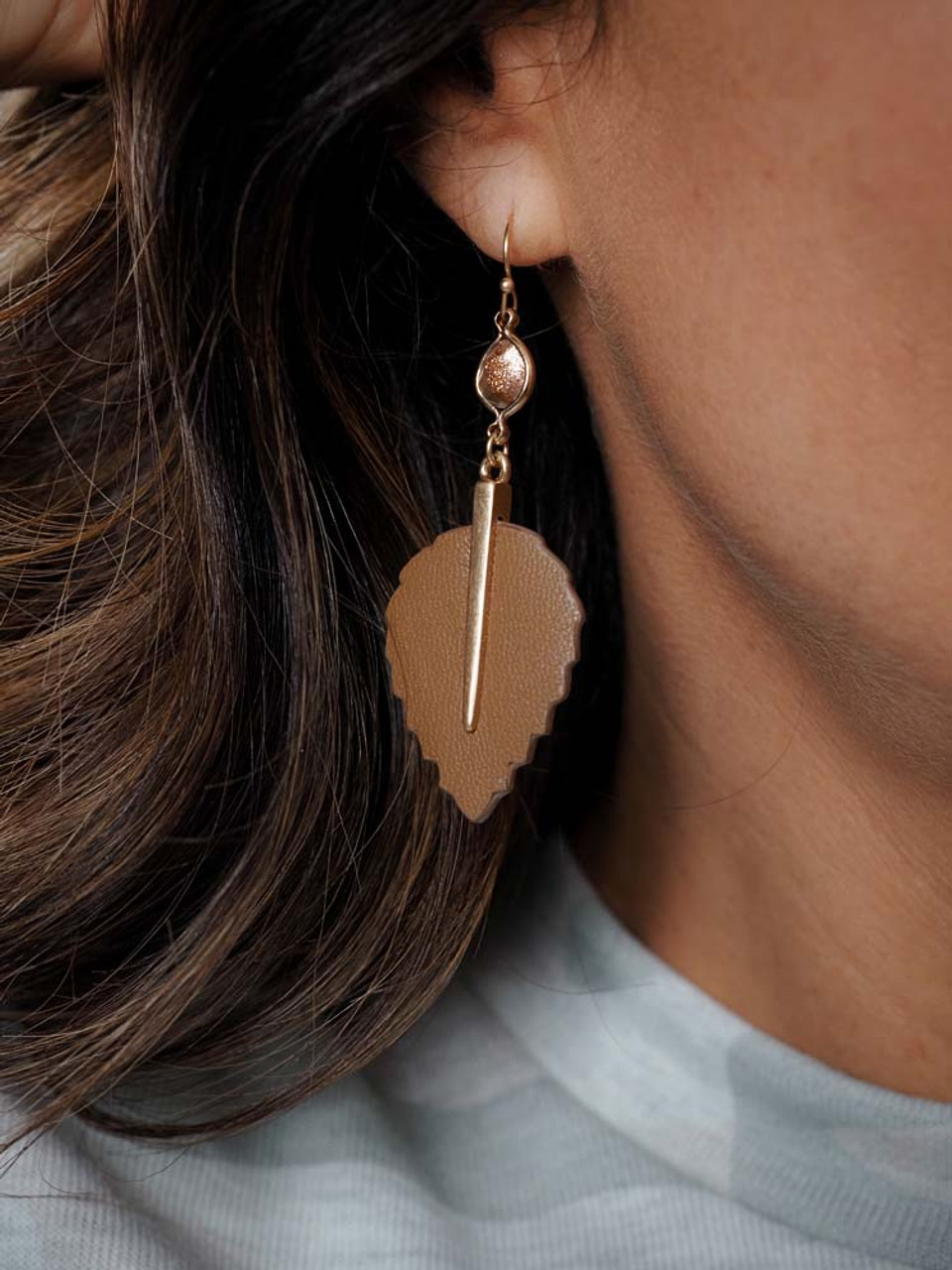 tan leather teardrop earring