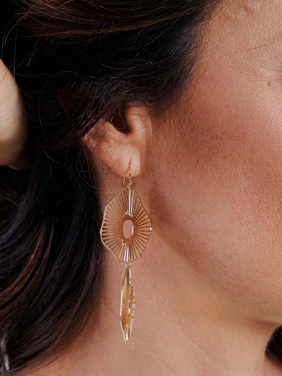 drop double gold geometric earrings