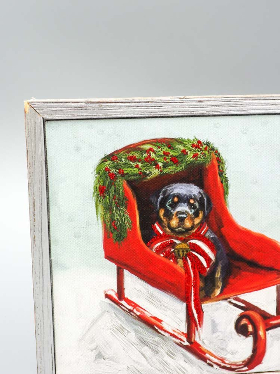 Pup in Sled Framed Canvas