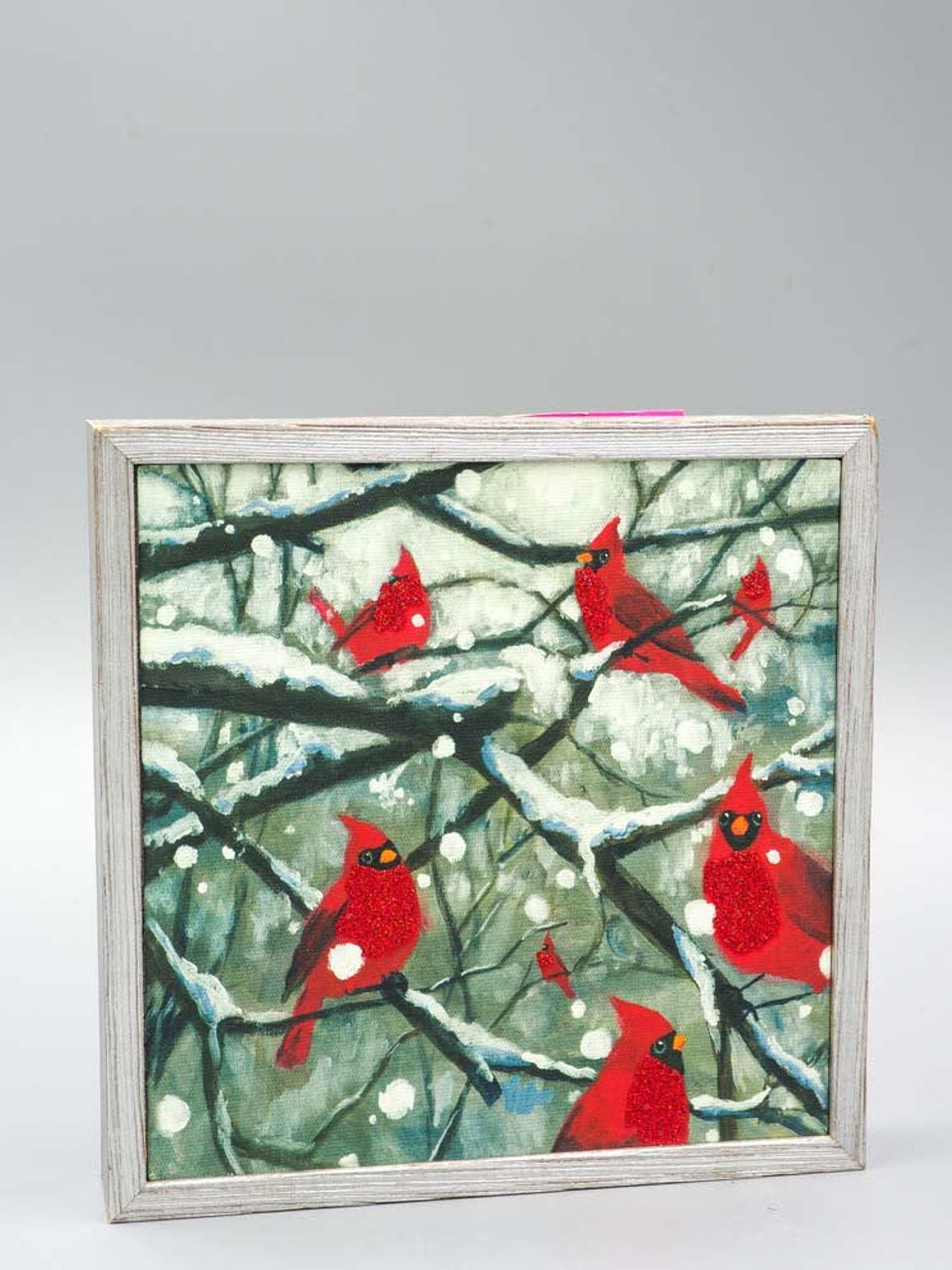 Cardinals on Snowy Branch Framed Canvas