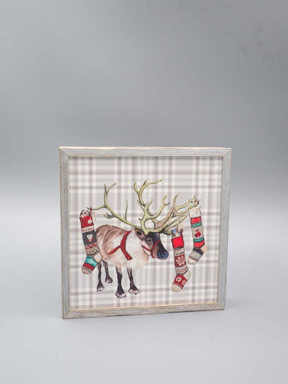 Plaid Reindeer Embellished Mini Framed Canvas