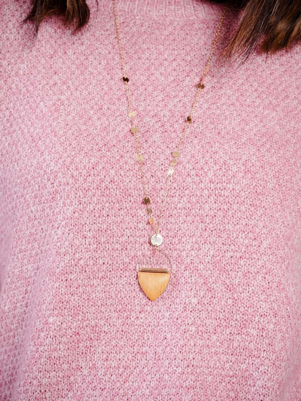 gold chain necklace with acrylic and wood pendant