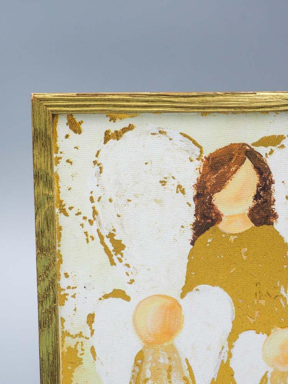 Watch Over Them Gold Embellished Mini Framed Canvas