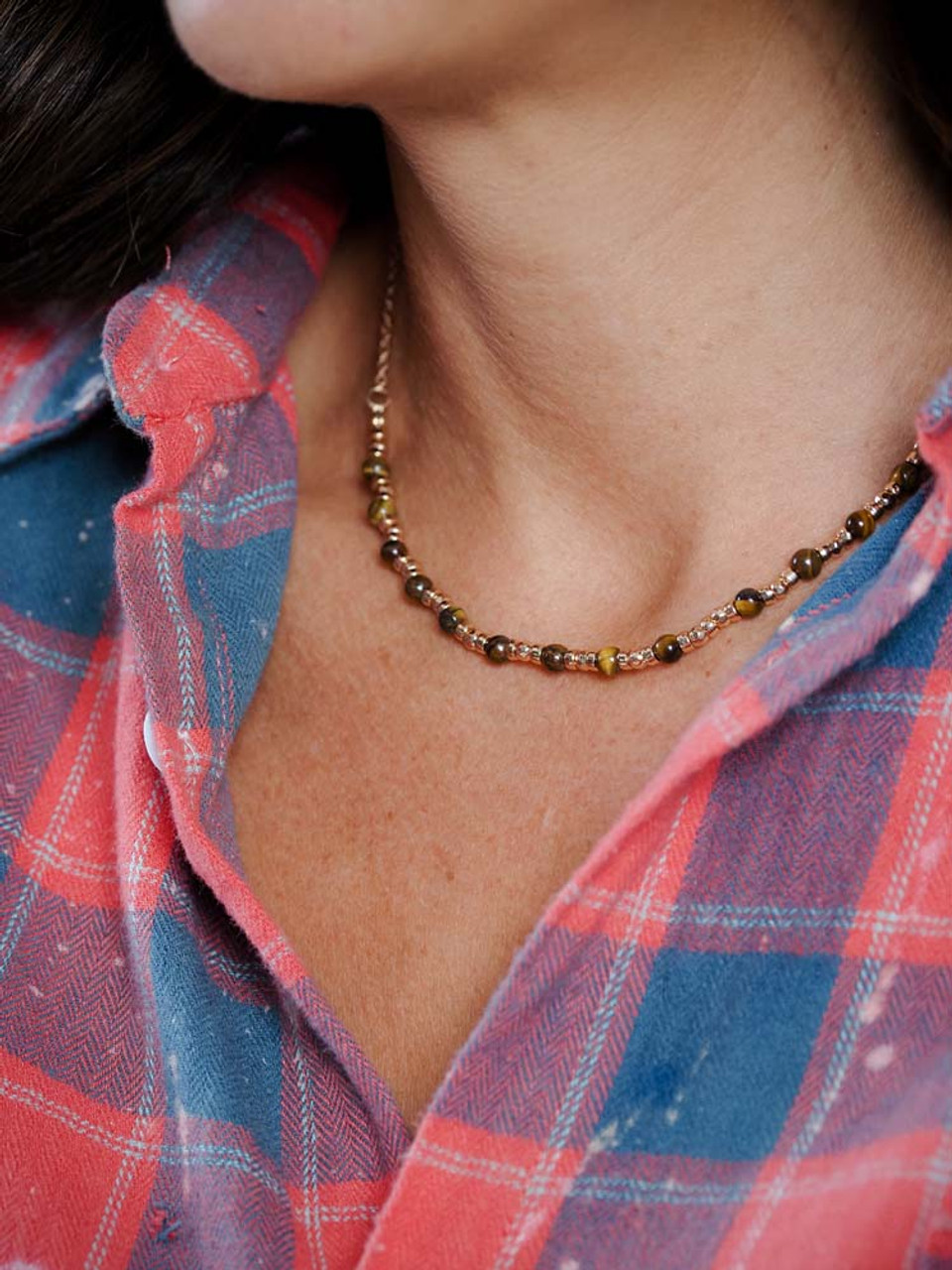 gold and brown bead necklace