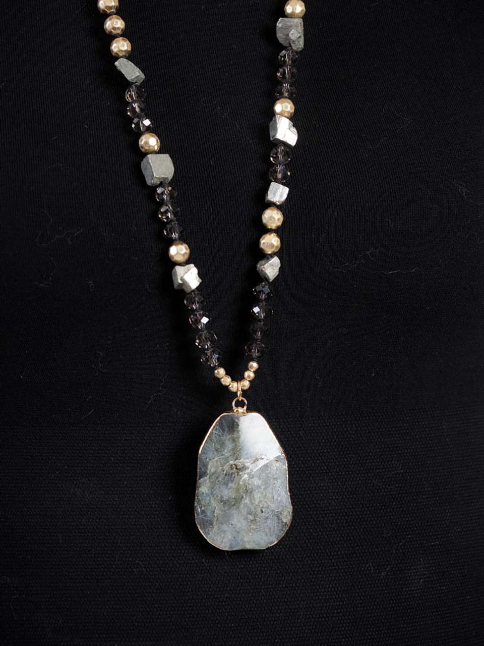 grey stone pendant necklace with gold and stone beading