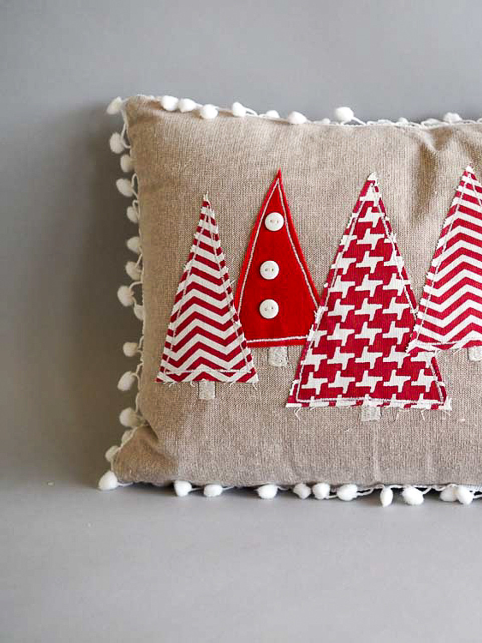 Christmas trees pillow with shite pom pom fringe