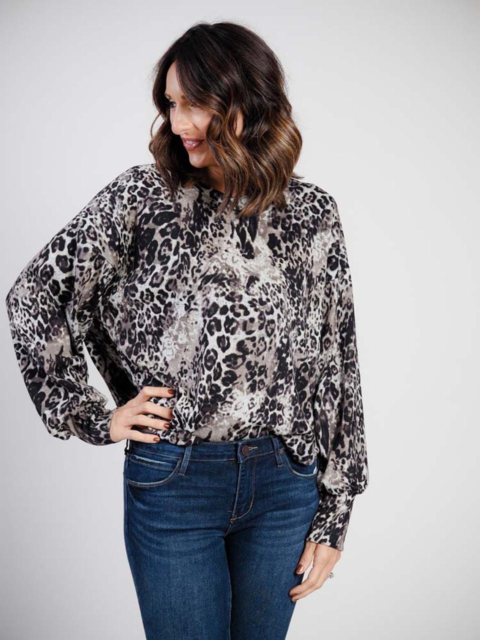 leopard print v-neck dolman sleeve top