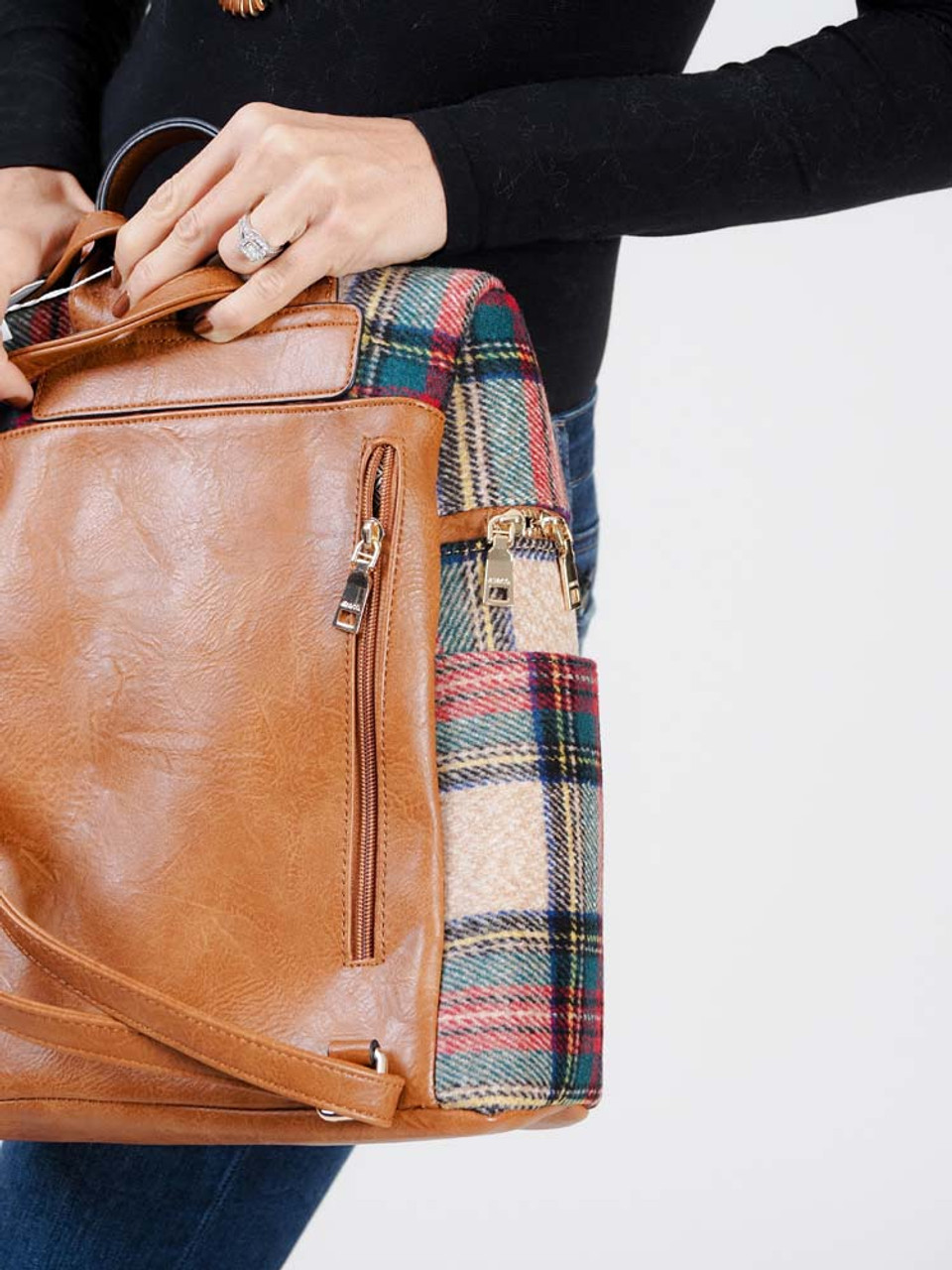 Multiplaid backpack with vegan leather