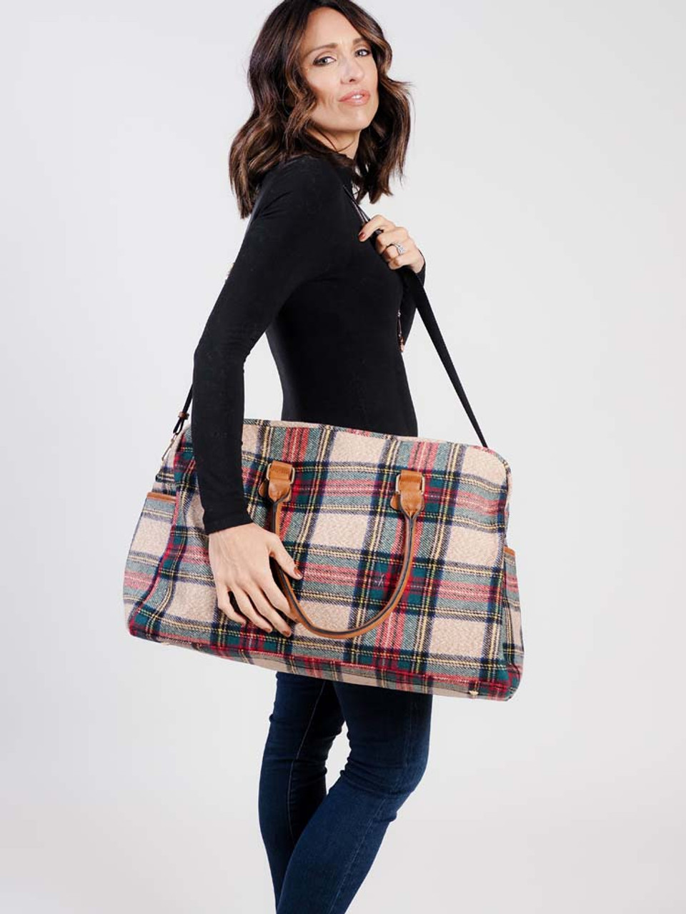 multicolor plaid weekender bag with vegan leather details