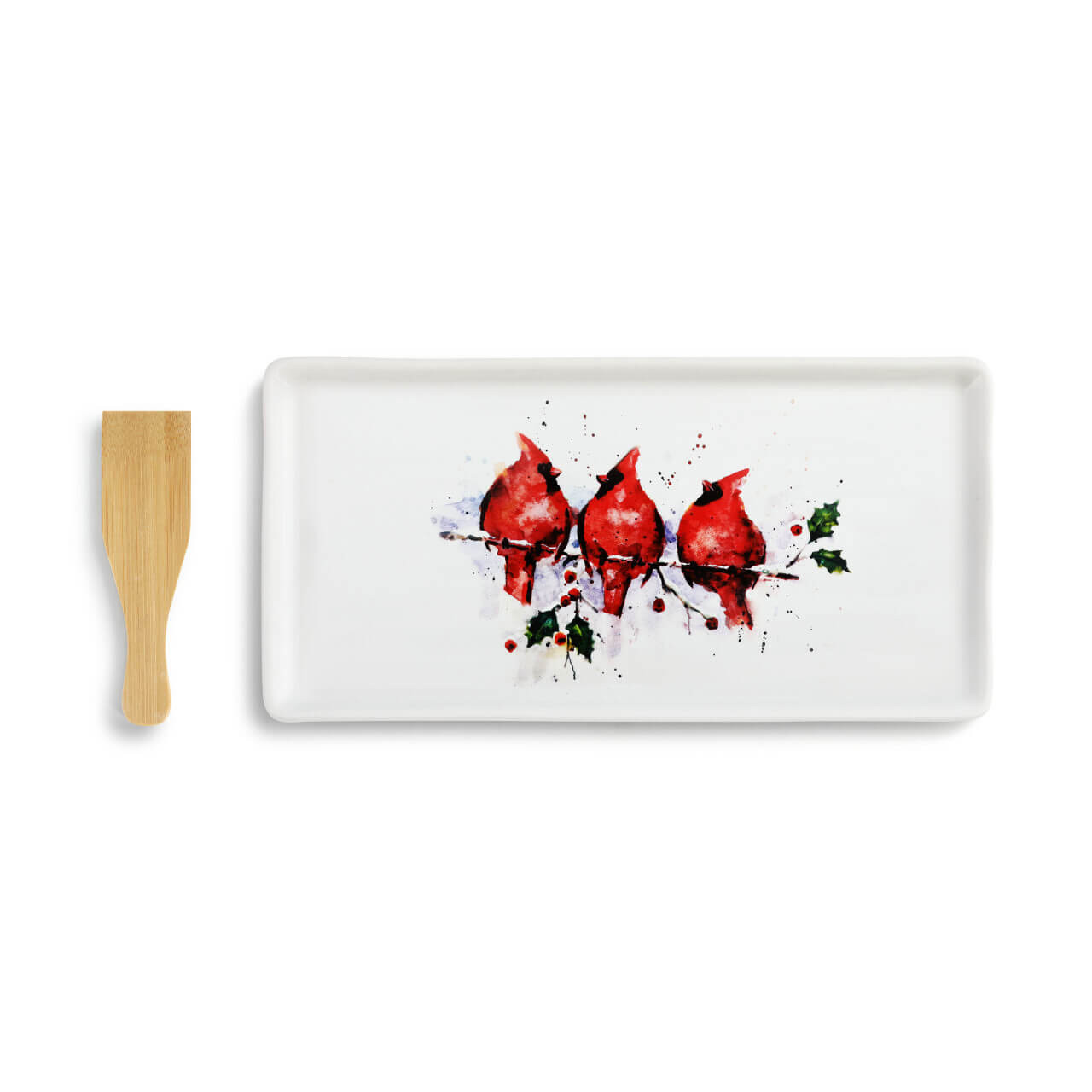 three cardinals appetizer tray with spatula demdaco