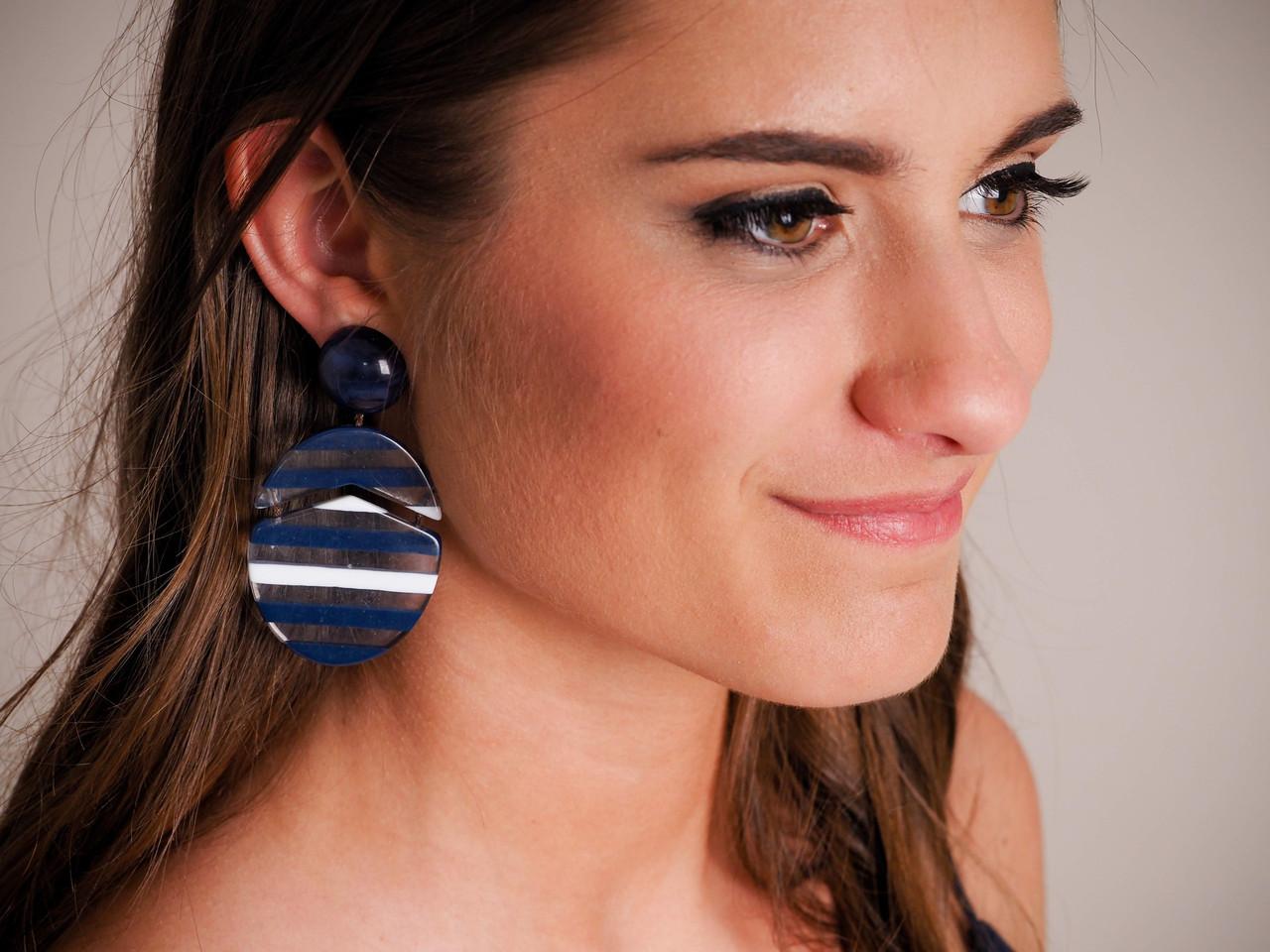 Multicolored Striped Drop Acrylic Earring