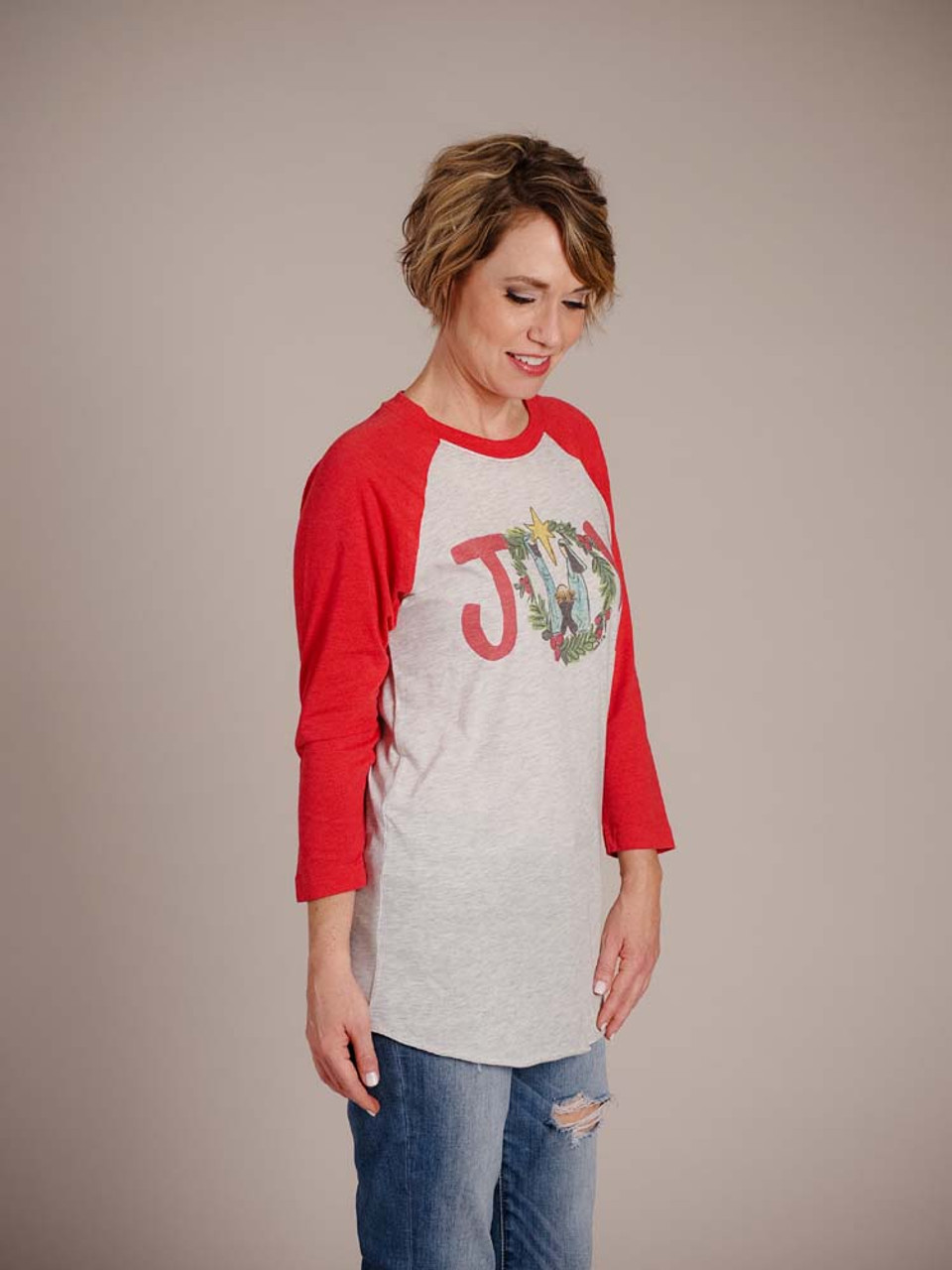 joy with nativity scene graphic christmas t-shirt