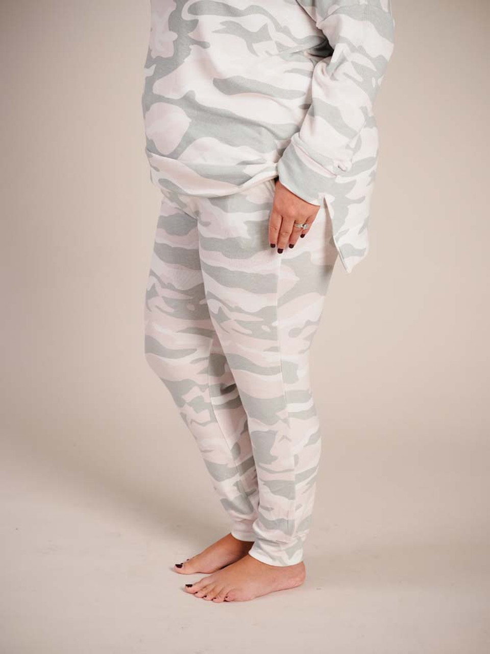 pink and green fleece lined joggers with drawstring waist