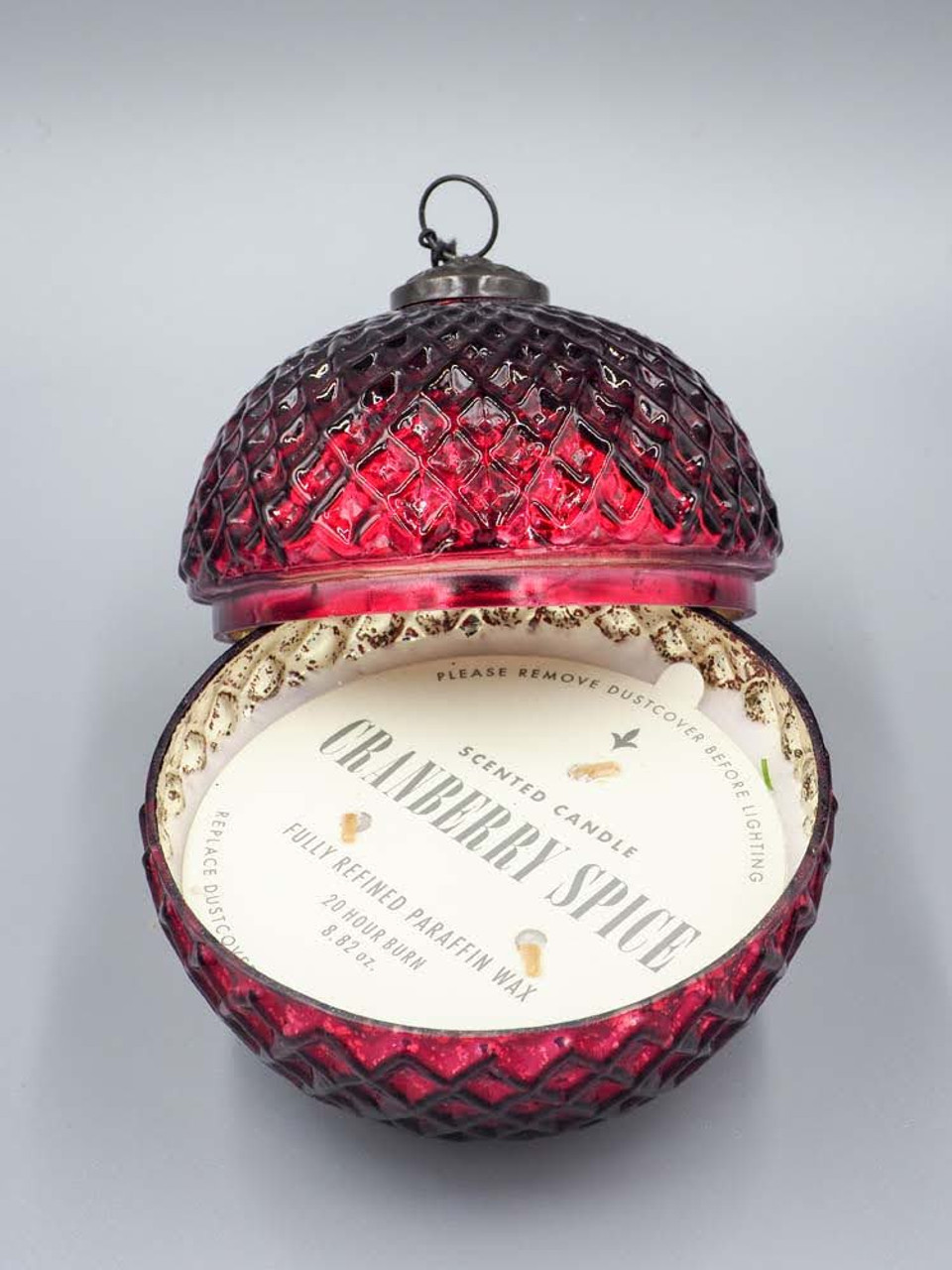 Cranberry Spice Red 5 Inch Ornament Candle