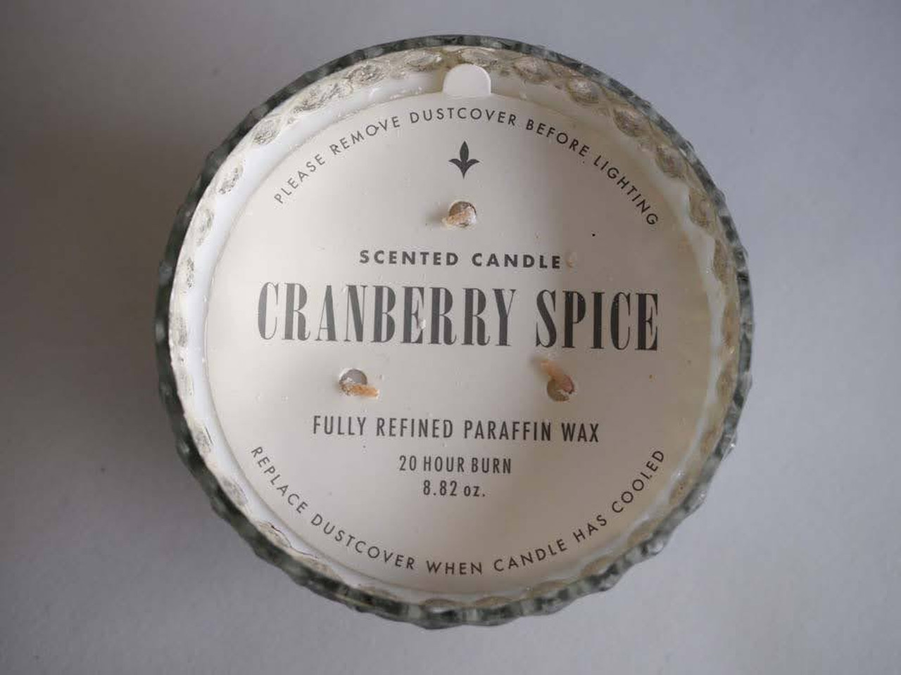 Cranberry Spice Silver 5 Inch Ornament Candle