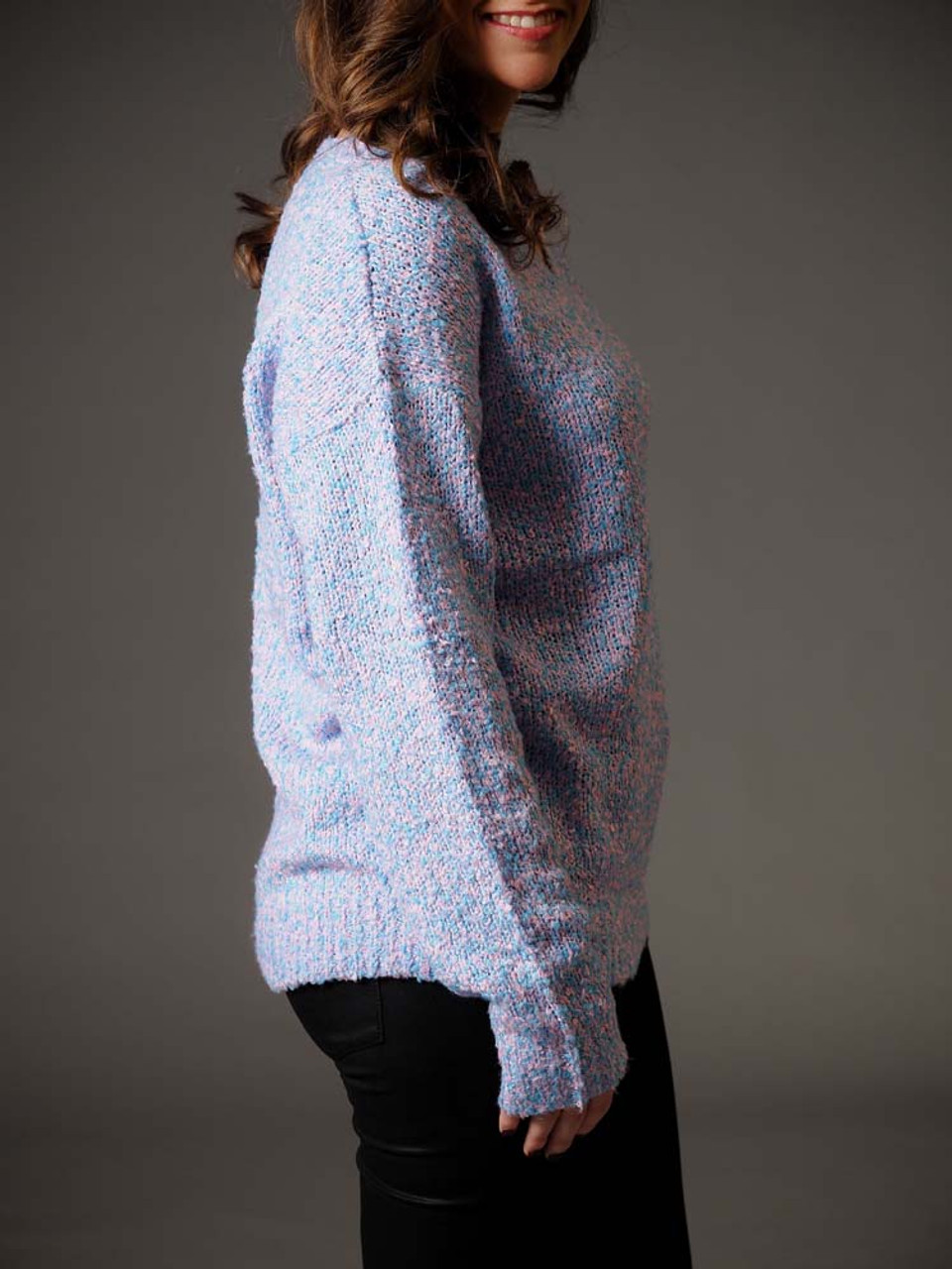 pink and blue popcorn sweater