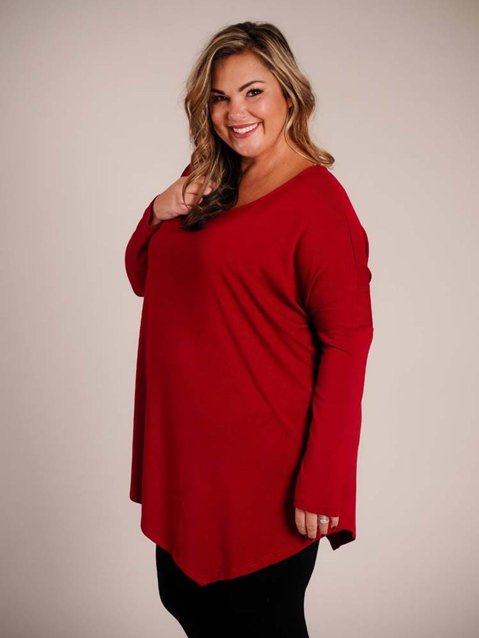 burgundy asymmetrical top umgee plus clothing curvy