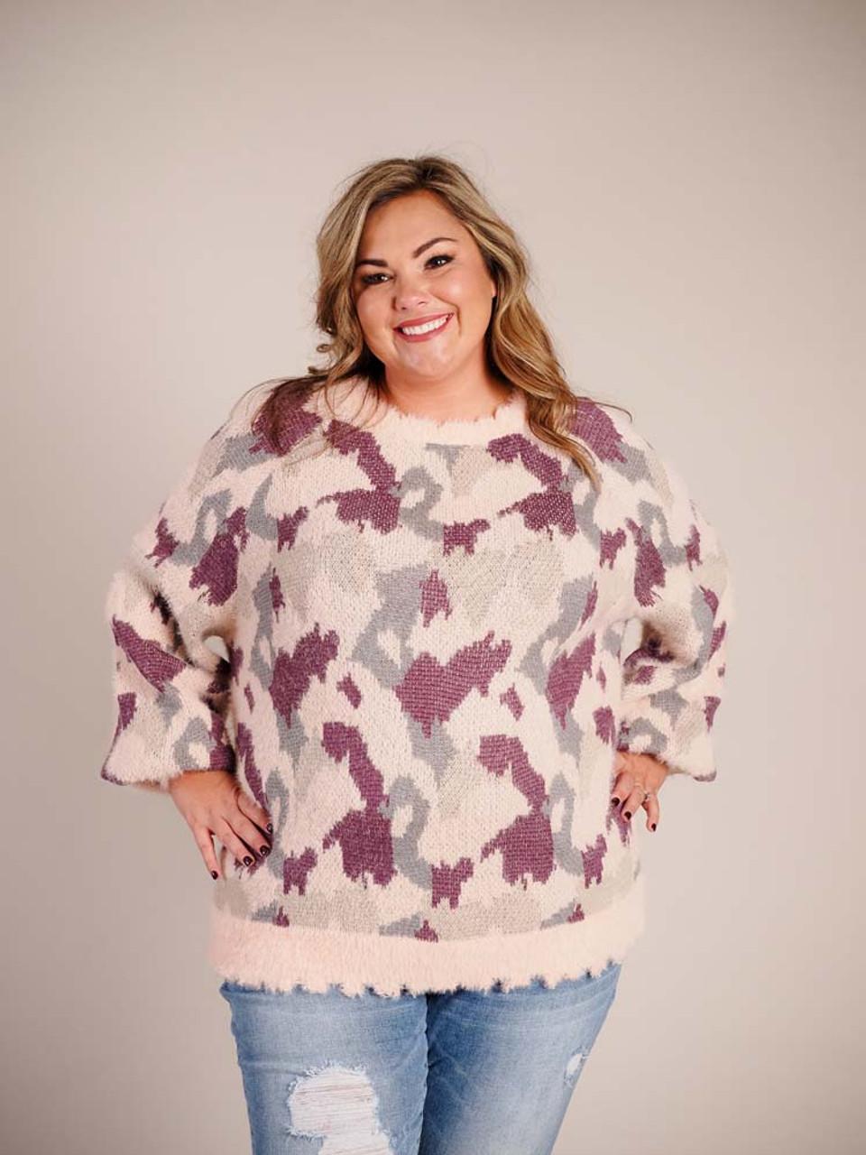 pink grey purple camouflage fuzzy sweater umgee plus clothing curvy