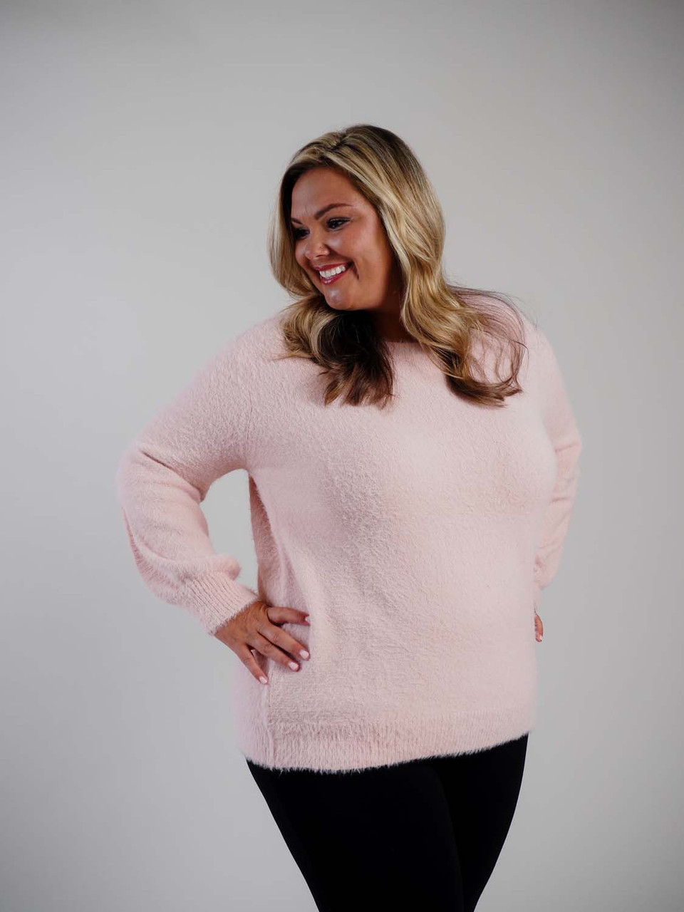 pink balloon sleeve sweater plus clothing curvy