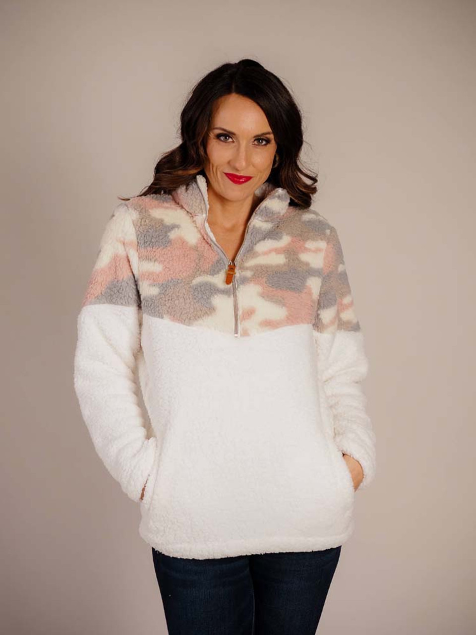 pink camouflage and ivory sherpa pullover