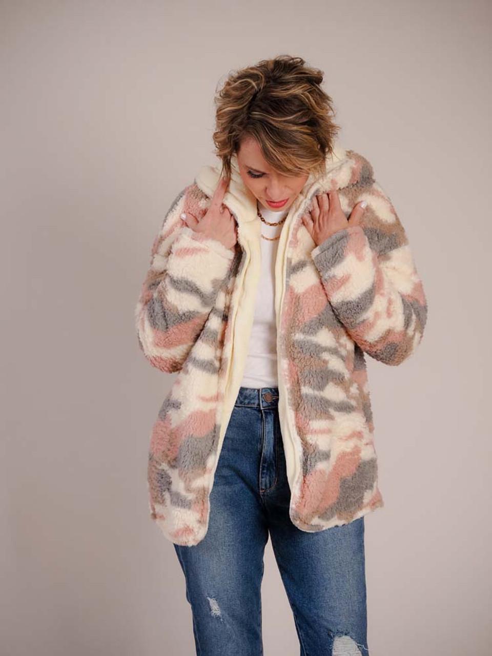 pink camouflage jacket sherpa pockets reversible