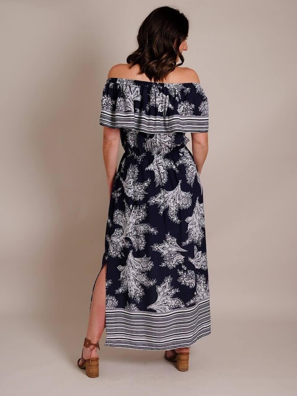 miller st. boutique Stripe Border Dress back view