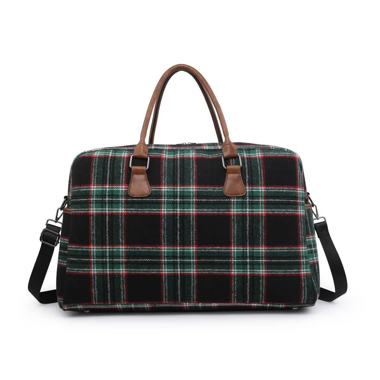 black and green plaid weekender bag