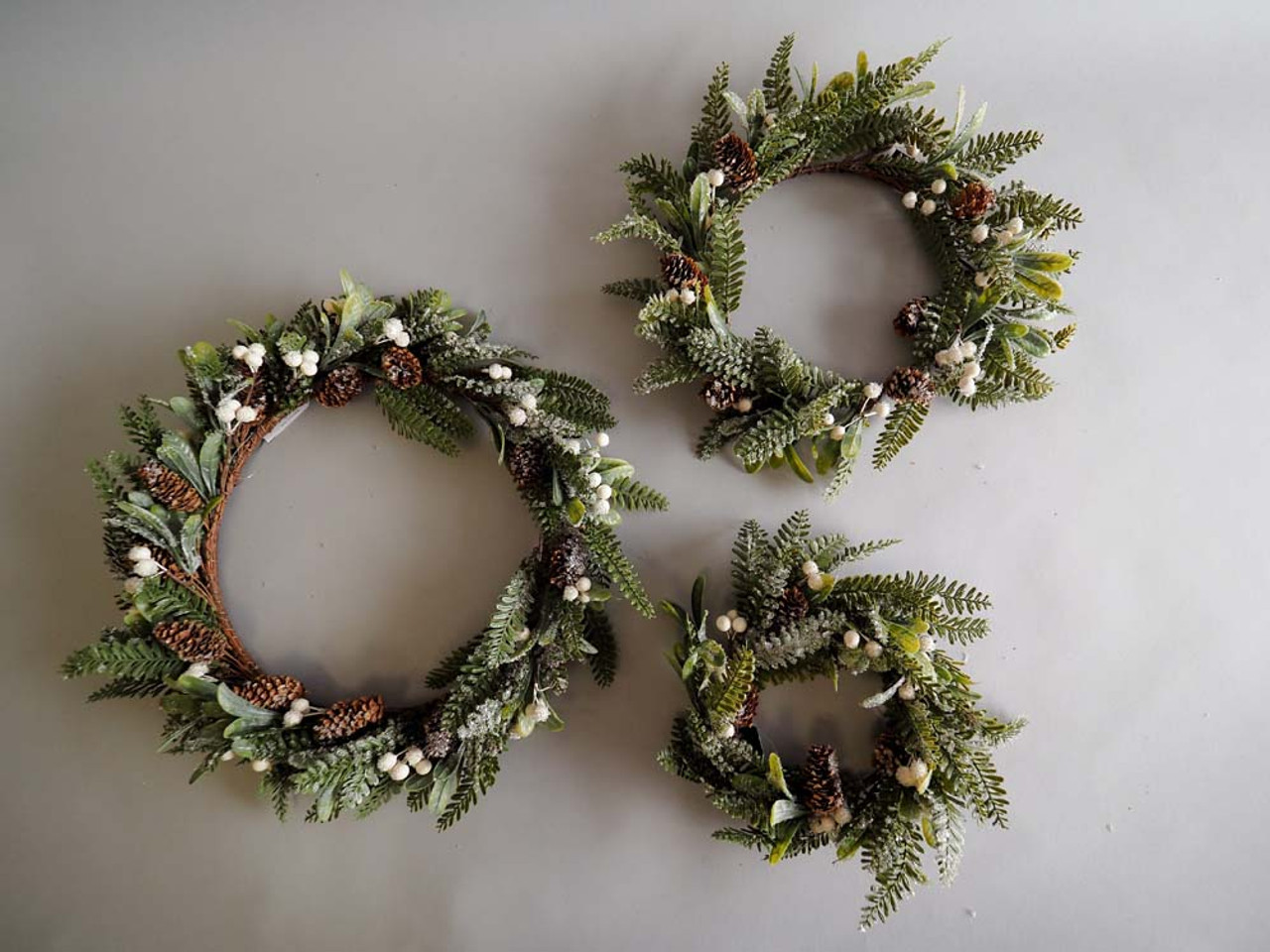 cream berries icy pinecone wreath