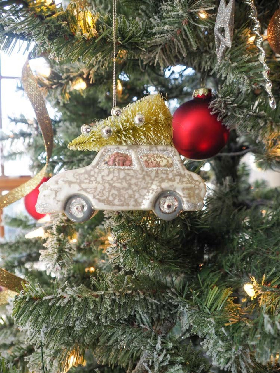 Car with Faux Tree Ornament