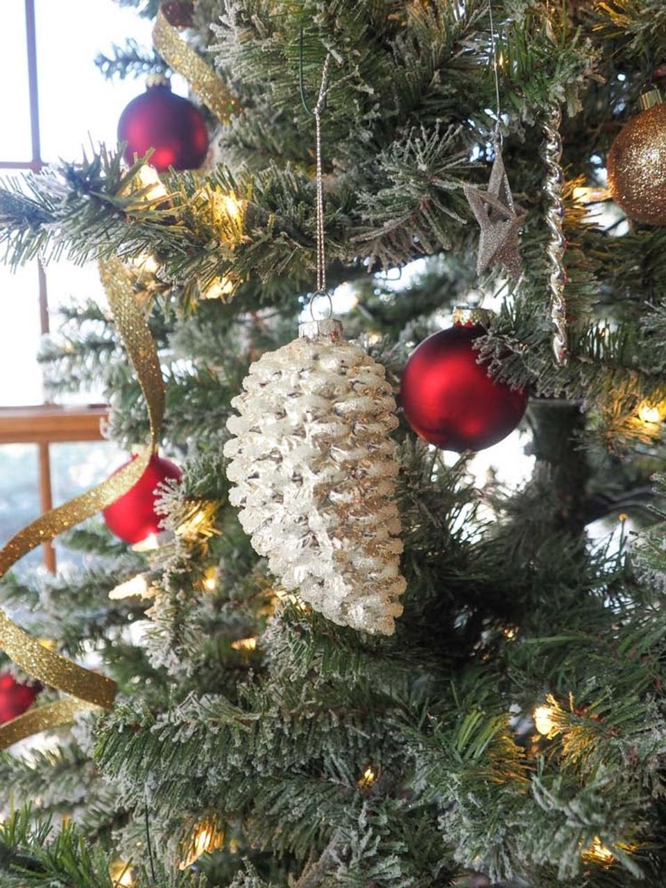 4 In Silver/White Pinecone Ornament
