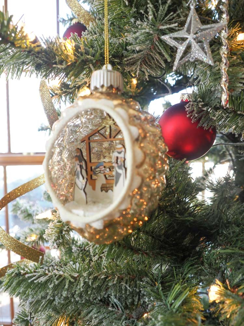 glass led ornament with nativity scene