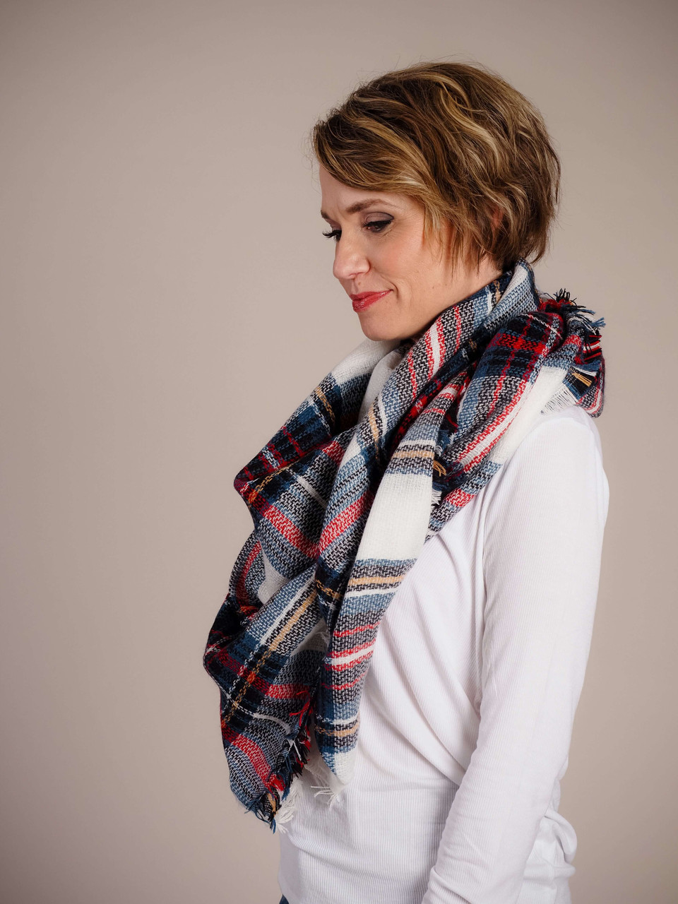 Blanket Scarf - Green, Red & White