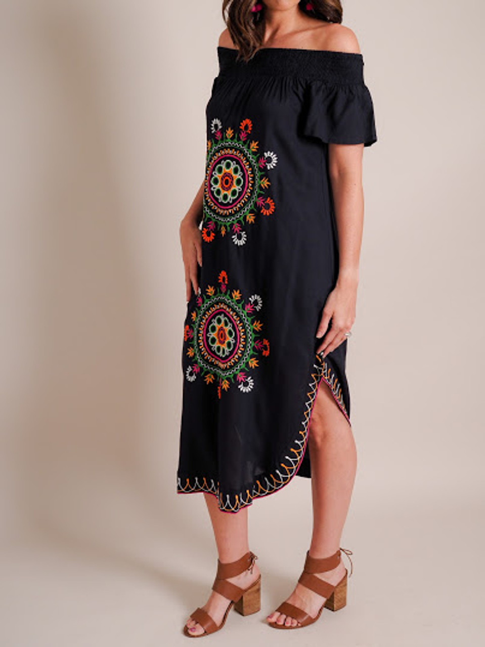 Elena Off-The-Shoulder Embroidered Dress-Navy
