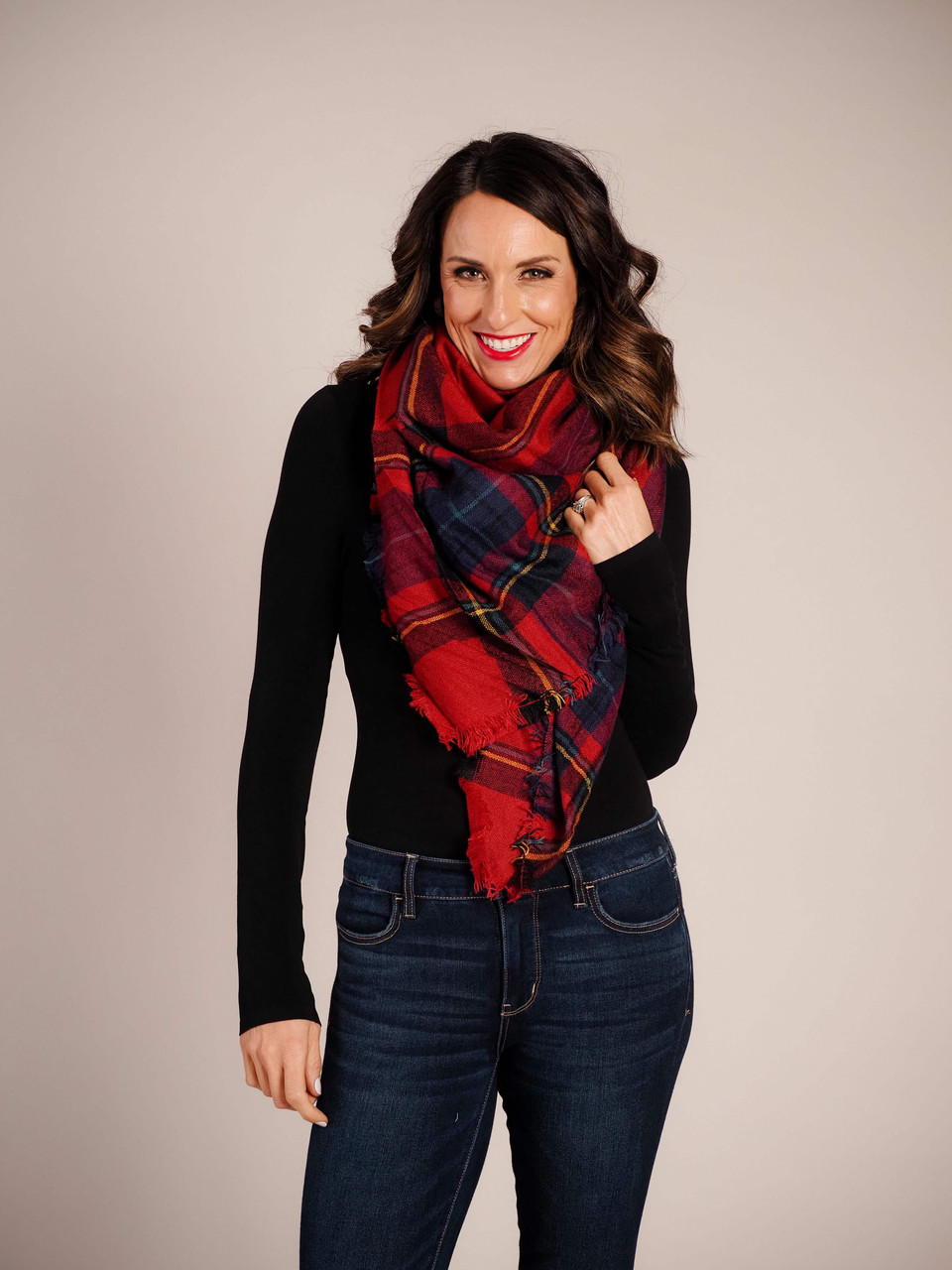 Blanket Scarf - Red, Navy & Yellow