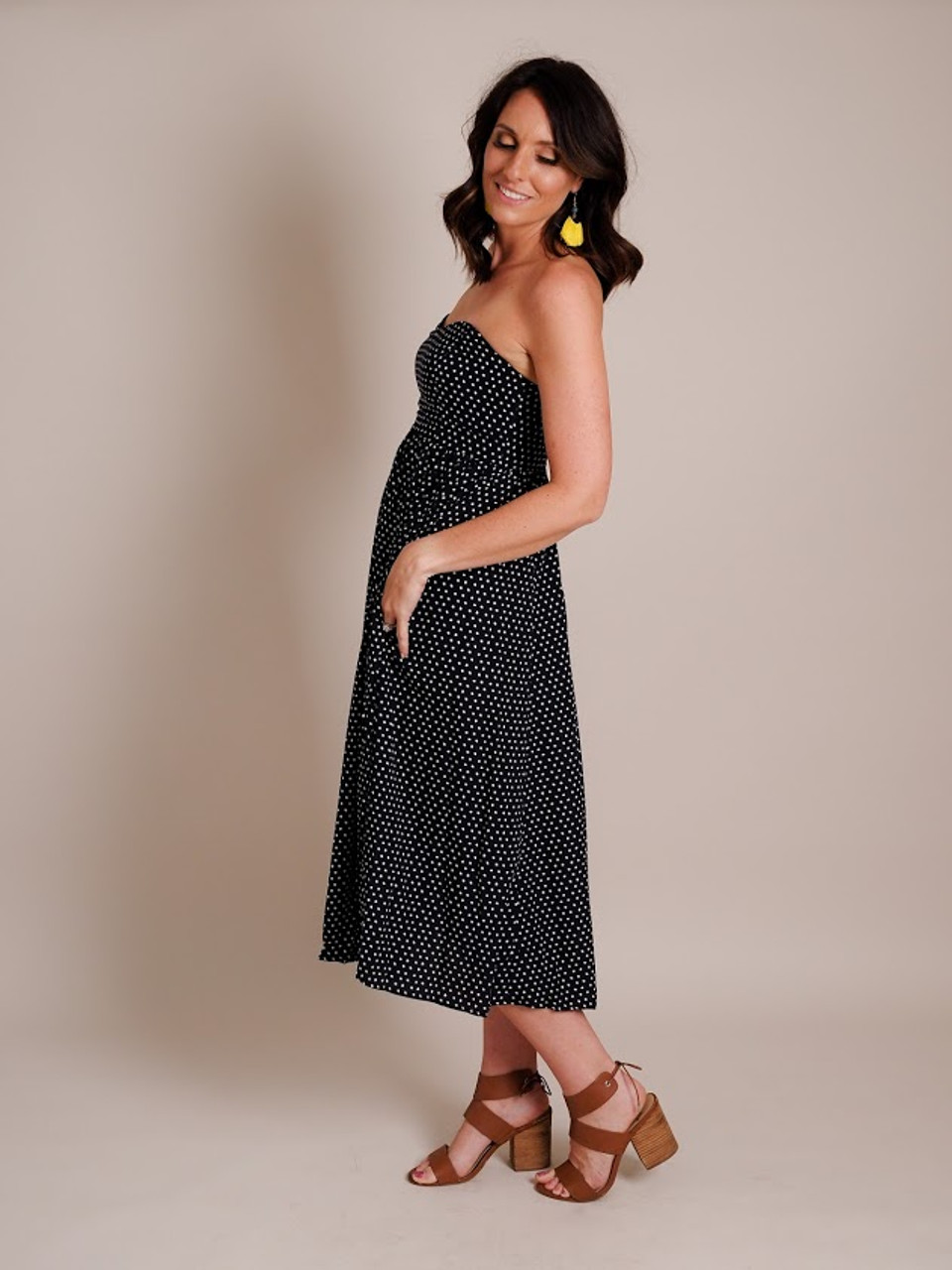 Strapless Polka Dot Navy & White Dress