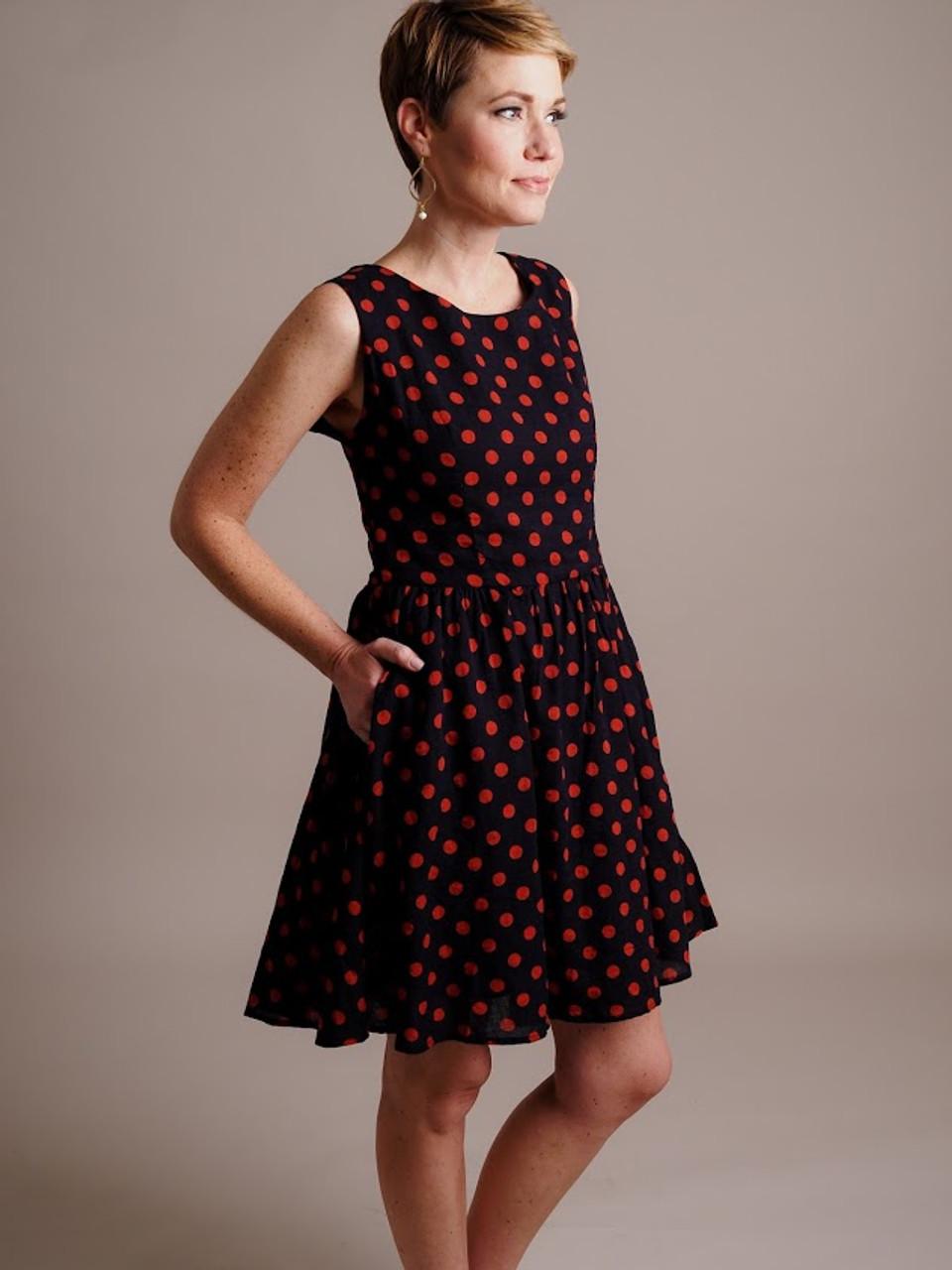 Navy & Red Polka Dot Dress