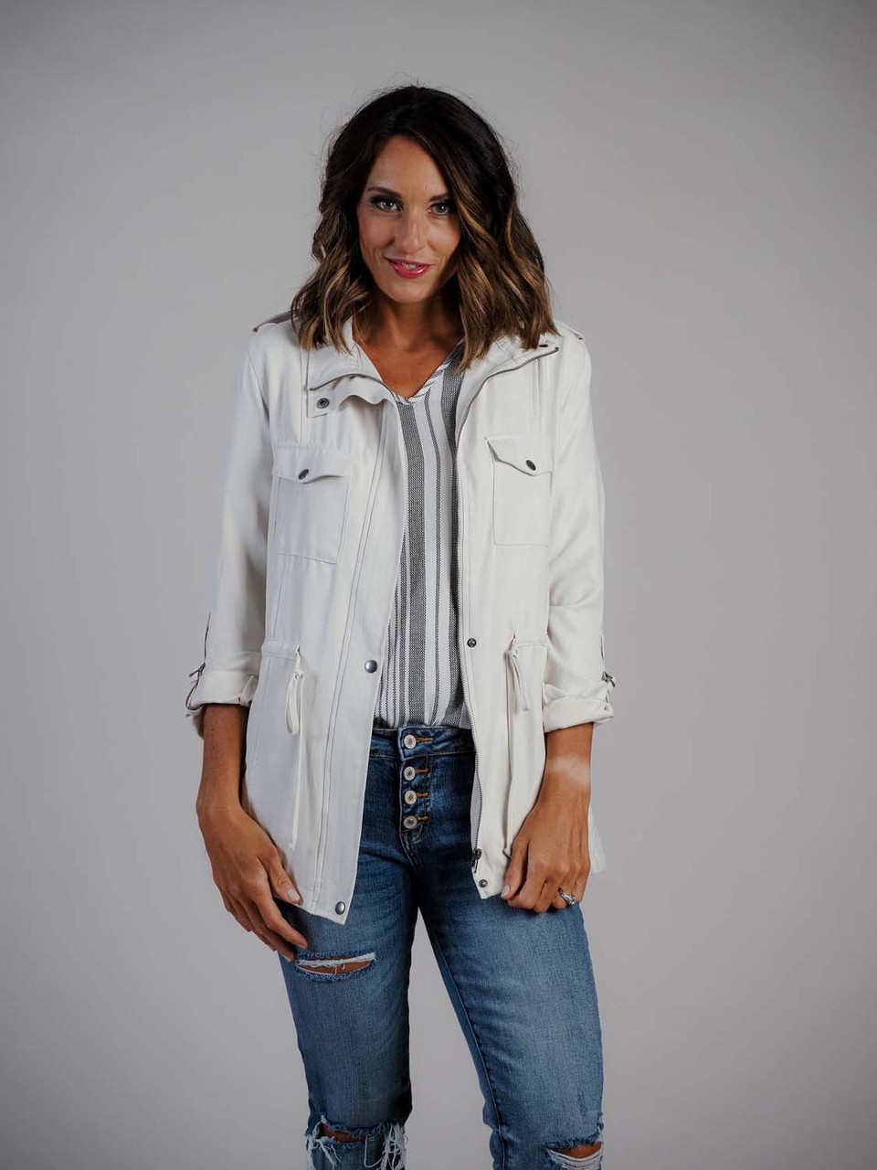 linen white jacket staccato