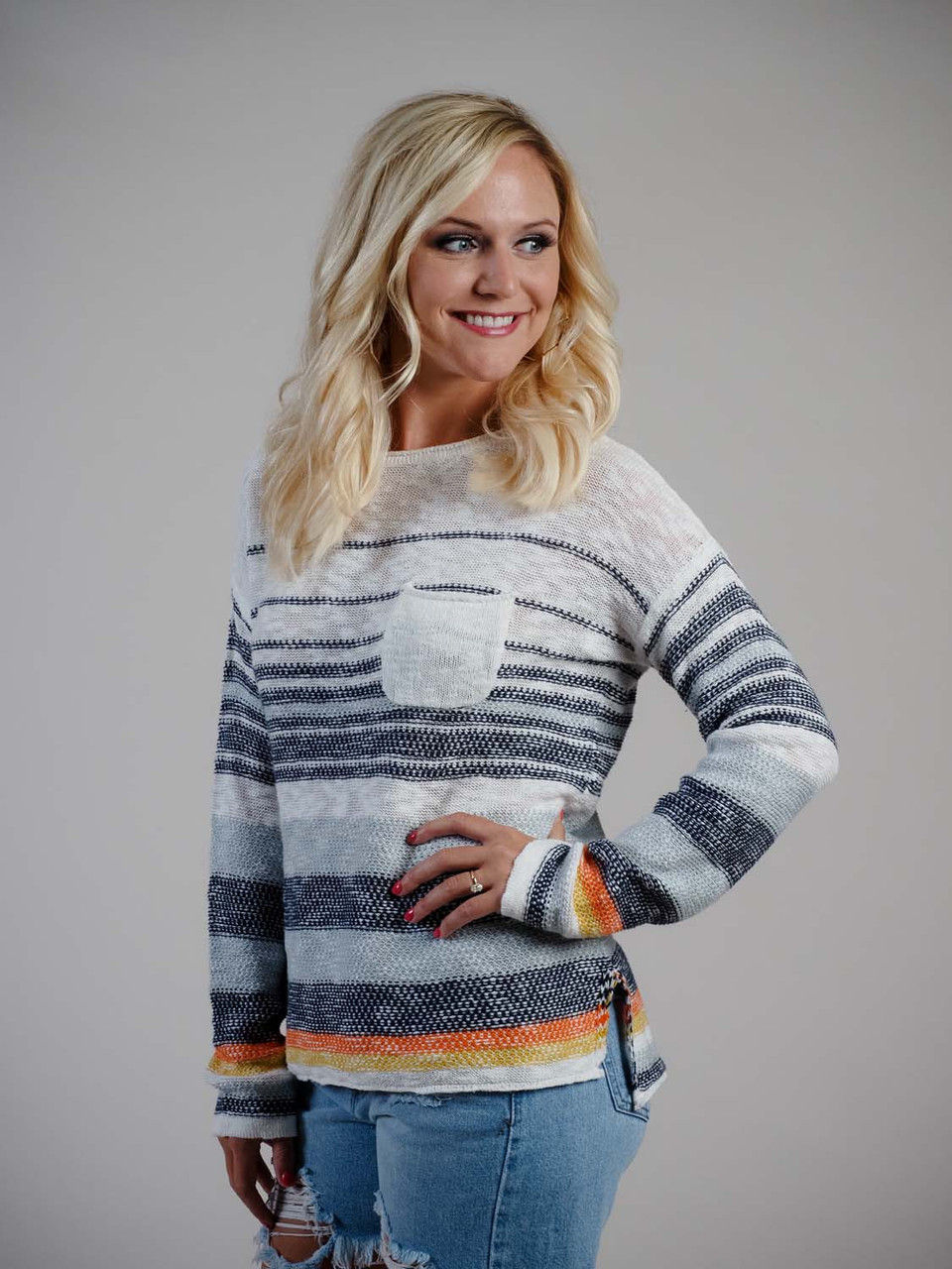 multi color lightweight sweater navy and ivory