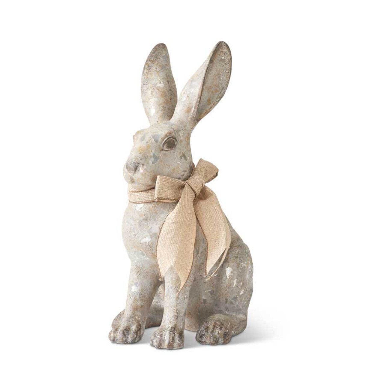 Gray Sitting Bunny with Burlap 15.75 Inch