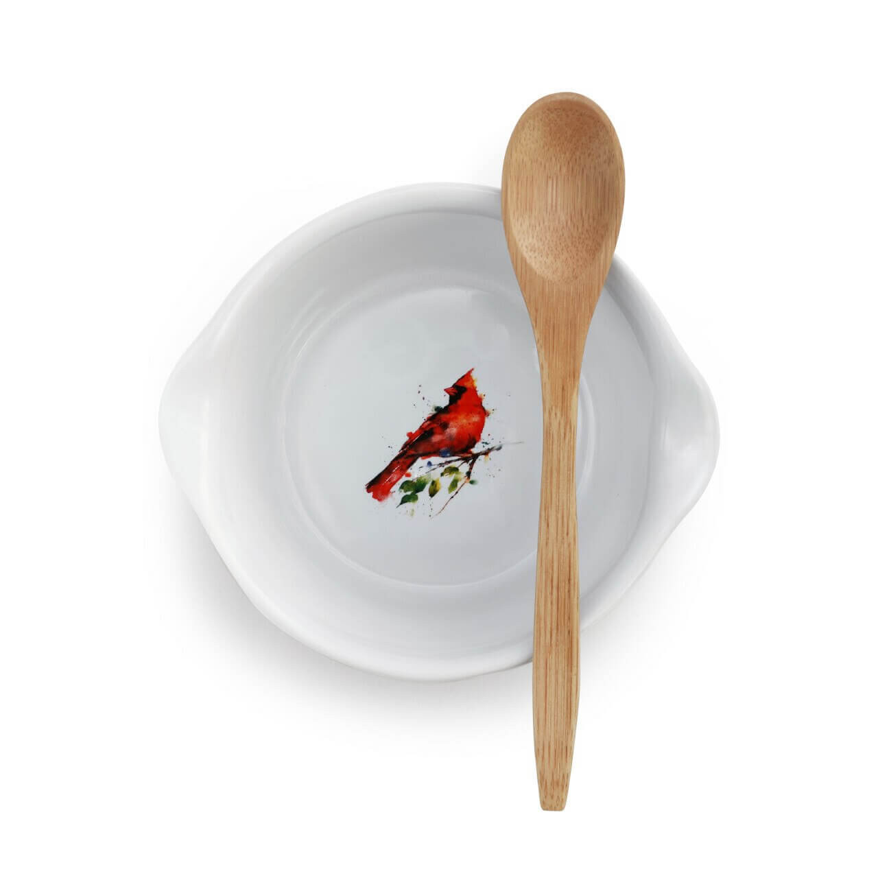 Spring Cardinal Appetizer Bowl with Spoon