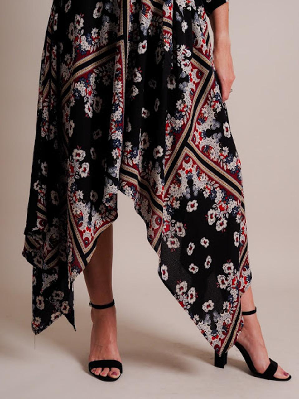 Black & Floral Asymmetrical  Dress