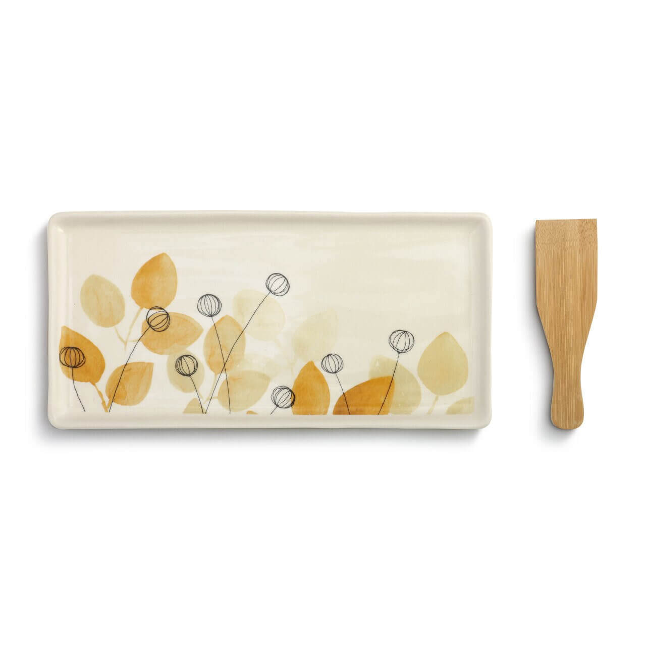 Summer Floral Appetizer Tray with Spatula