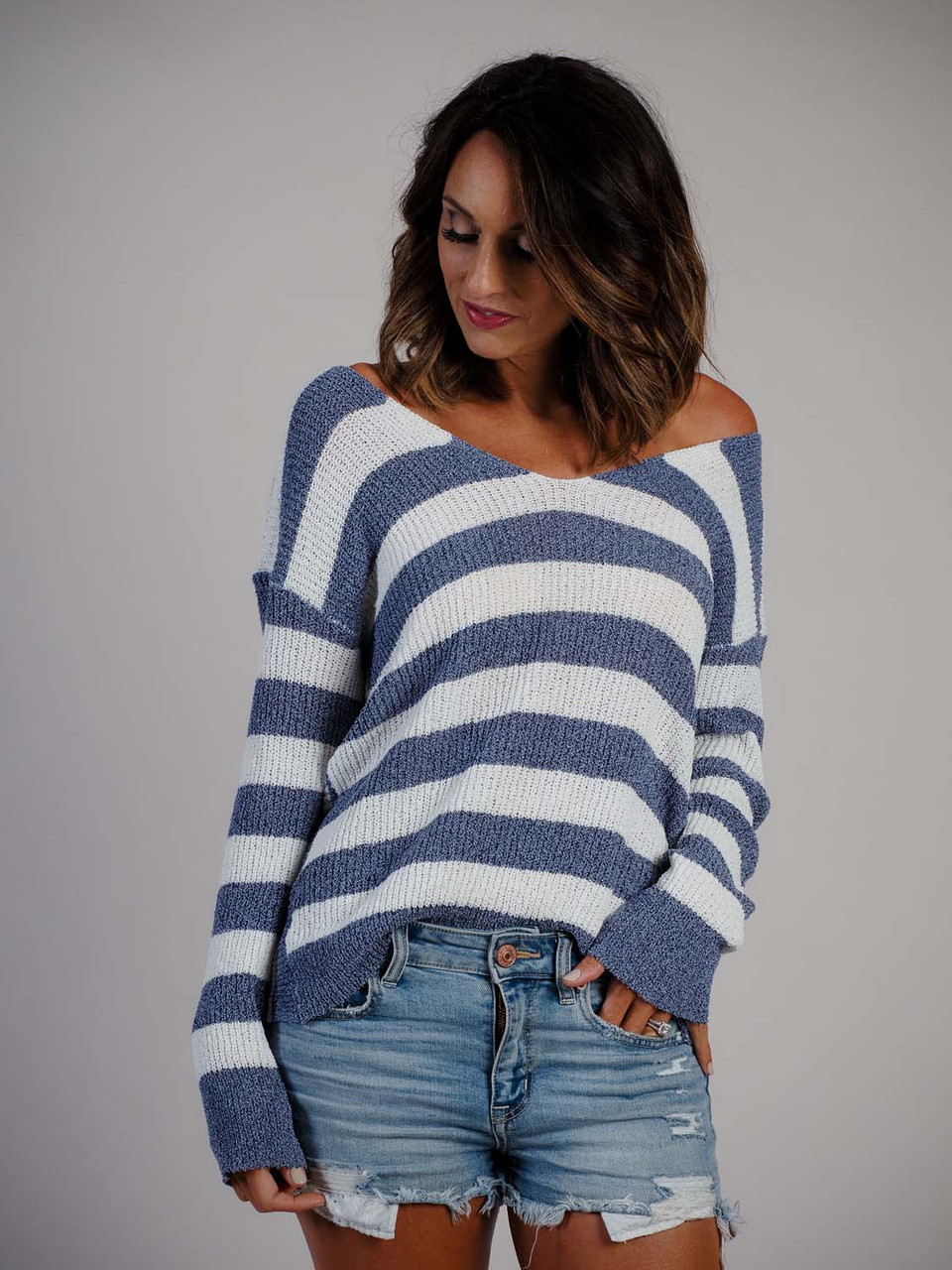 blue and white stripe sweater with knotted back