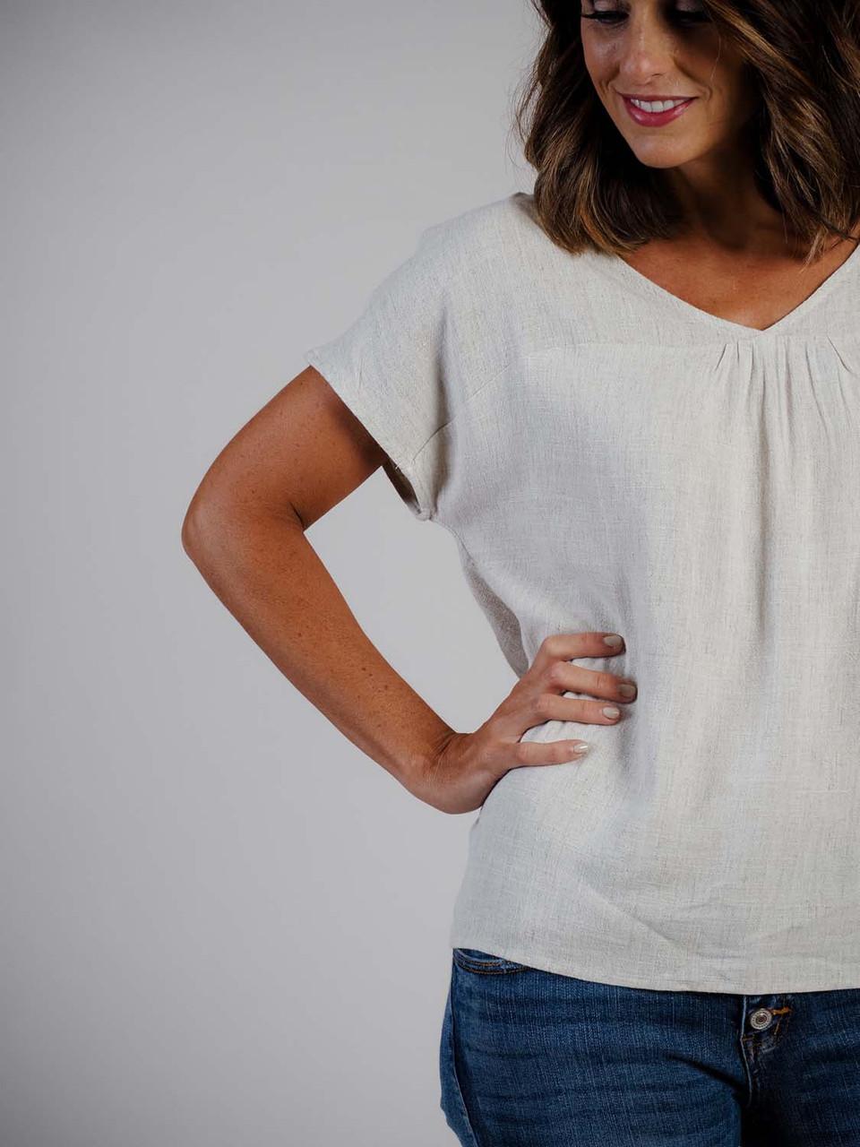Linen blend v-neck top