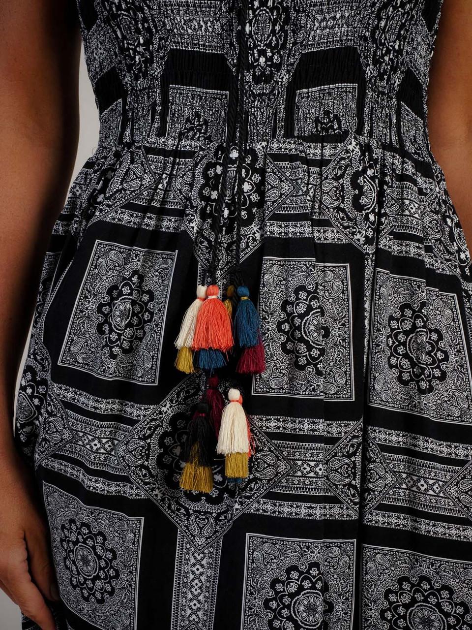 black and white tribal pattern maxi dress