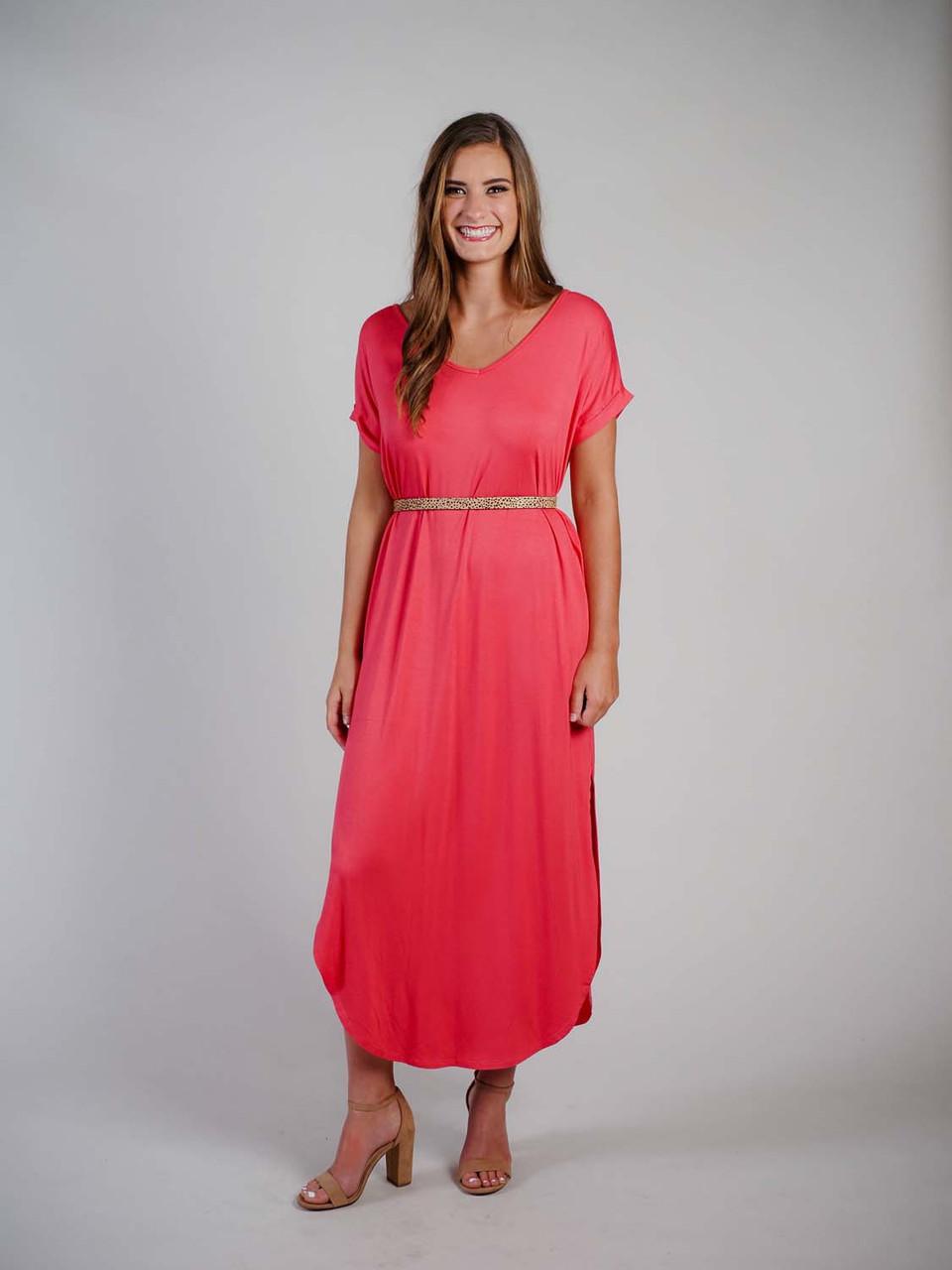 coral bamboo maxi dress