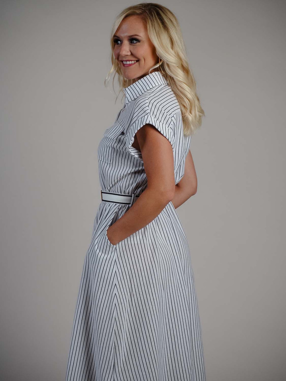 White and black stripe midi dress molly bracken