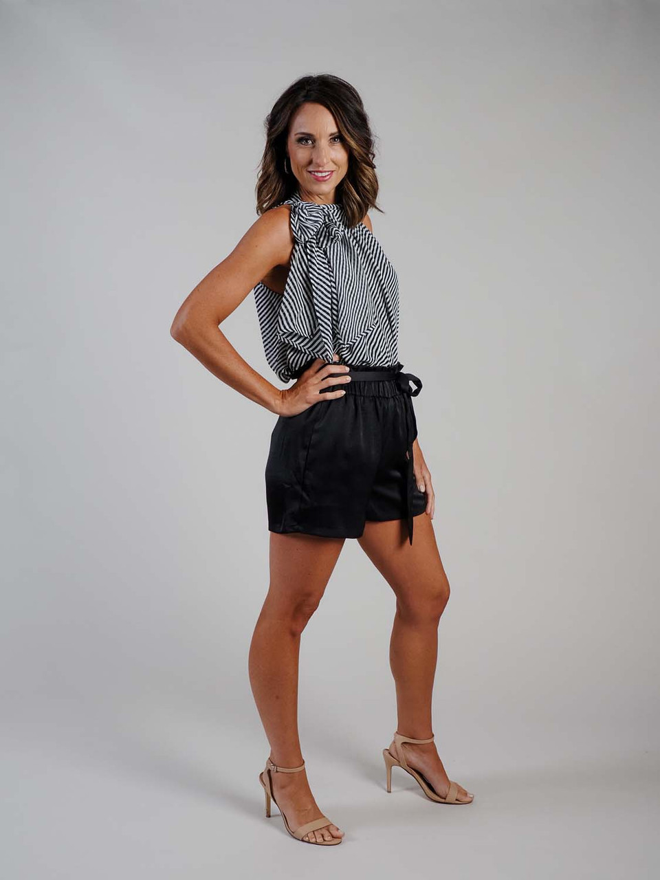 black and white striped large bow top sleeveless