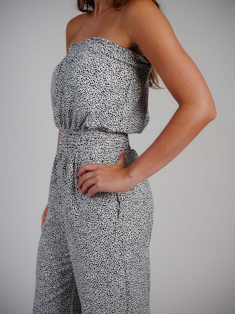 Smocked strapless jumpsuit black and white